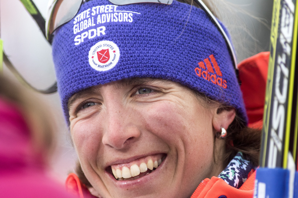 Susan Dunklee of Barton, Vermont, was all smiles after placing second in the women's 7.5-kilometer sprint at the BMW IBU World Cup Biathlon Thursday. It was the best finish ever for an American woman in the event.