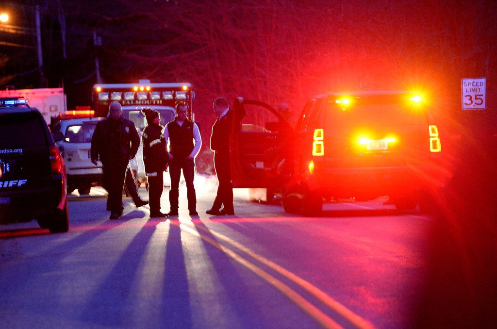 Police block Winn Road in Falmouth late Wednesday afternoon.
