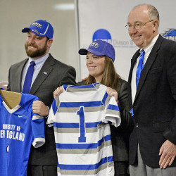UNE Athletic Director Jack McDonald, right, introduces new football coach Mike Lichten and new women's rugby coach Ashley Potvin at the University of New England Thursday. Shawn Patrick Ouellette/Staff Photographer
