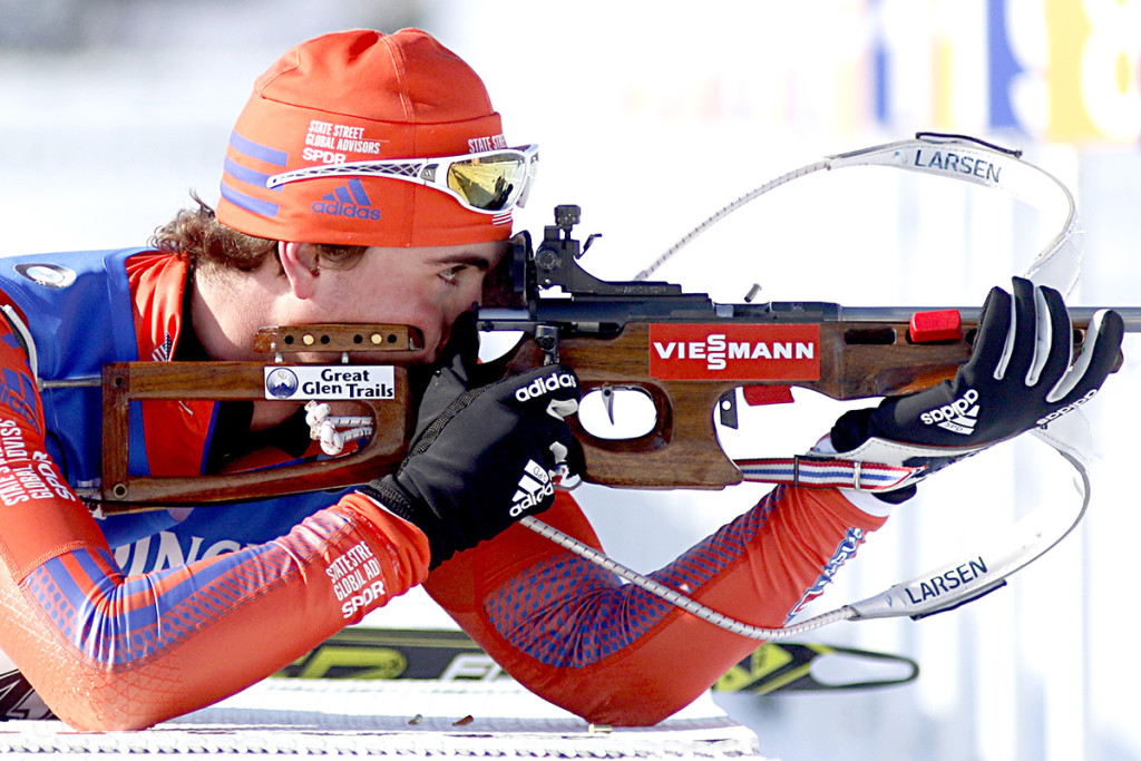 Sean Doherty of New Hampshire shoots prone as he competes in the 10-kilometer sprint at the BMW IBU World Cup Biathlon in Presque Isle on Thursday.