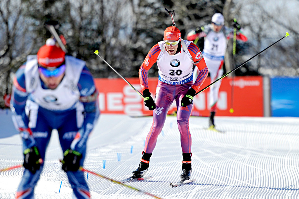 Tim Burke of Paul Smiths, N.Y., finished the highest of any Team USA member at 7th place during the men's 12.5-kilometer pursuit at the BMW IBU World Cup Biathlon at the Nordic Heritage Center in Presque Isle on Friday.