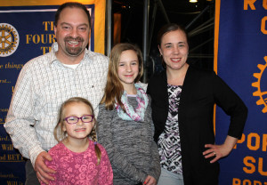 Tom, Emma, Eliza and Sarah Dube of Topsham attended Rotary Club's Party with a Purpose, a Maine Children's Cancer Program fundraiser. Emma, 6, is a cancer survivor and the 2016 Slugger Kid for Strike Out Cancer in Kids.