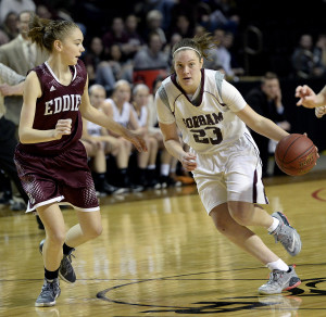 Gorham's Emily Esposito drives up court as Edward Little's Jade Perry moves in on defense during the Class AA State Championship game Saturday, February 27, 2016.