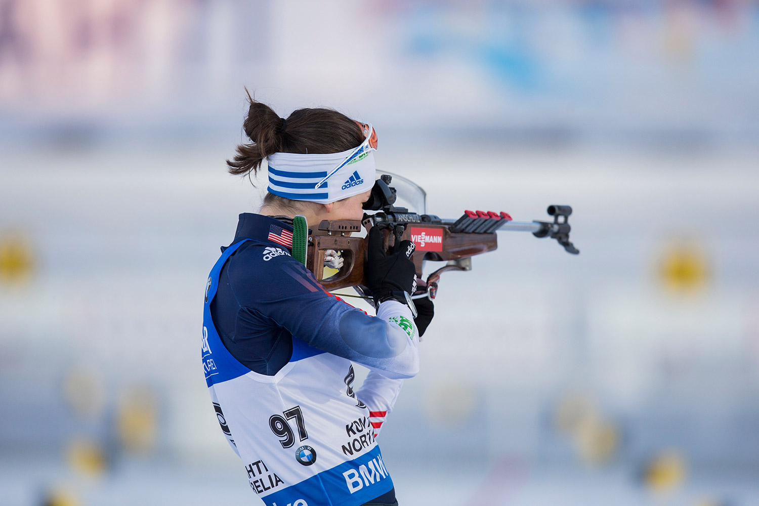 Clare Egan will be competing for the third time at the Nordic Heritage Center in Presque Isle, but first time with a rifle strapped to her back. NordicFocus