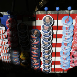 Buttons displayed Monday at the Green County Community Center in Jefferson, Iowa, promote Republican presidential candidate Sen. Ted Cruz.