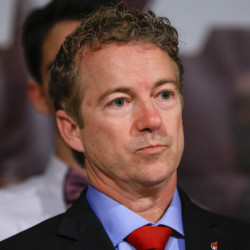 The Associated Press Republican presidential candidate, Sen. Rand Paul, R-Ky, waits to speak to supporters during a caucus night rally at the Scottish Rite Consistory in Des Moines, Iowa, Monday.