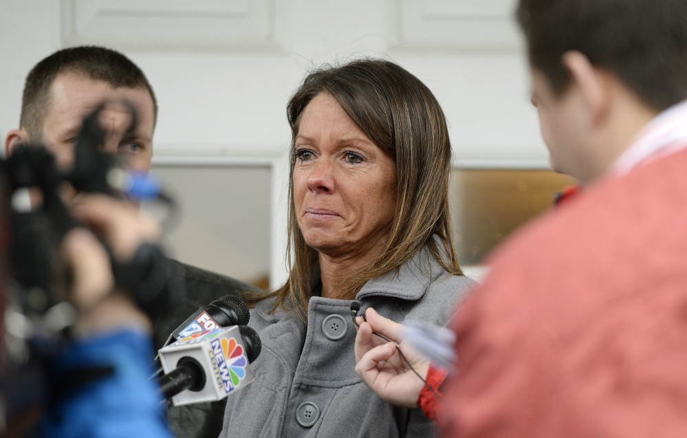 Susan Johnson speaks to the press after James Pak pleaded guilty in York County Superior Court in February 2016.