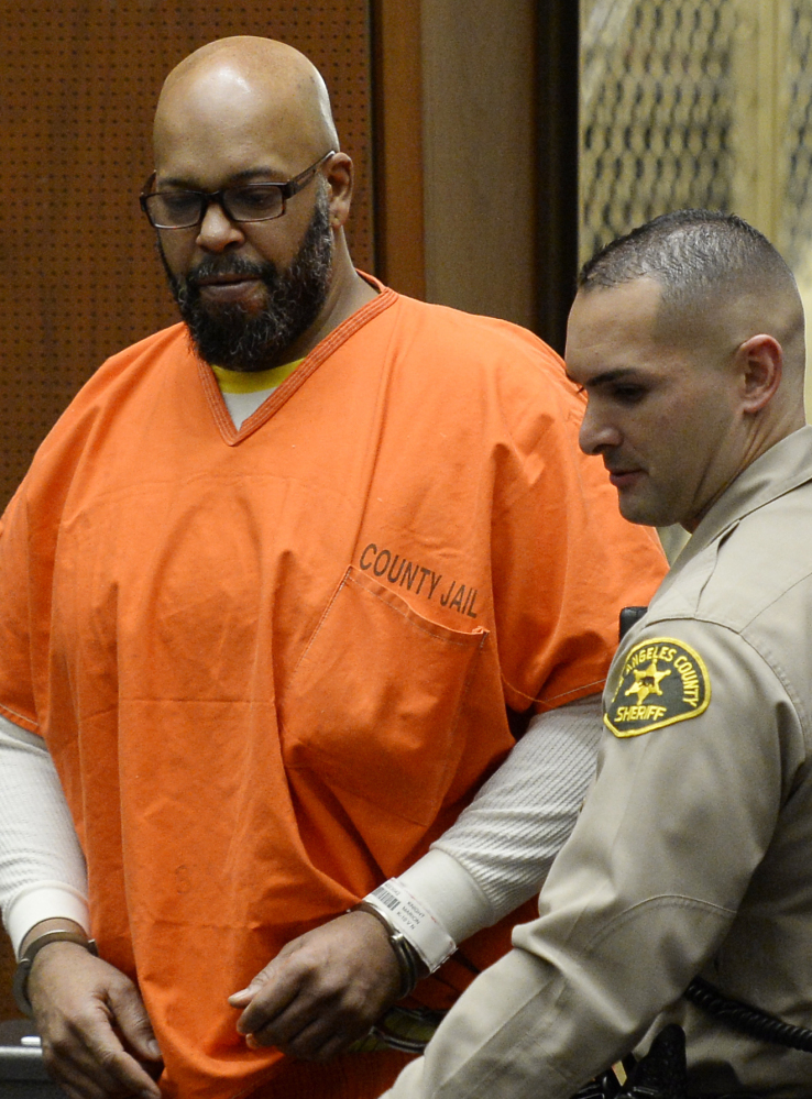 Marion 'Suge' Knight is being held on $10 million bail and has pleaded not guilty to driving over two men last year, killing one.