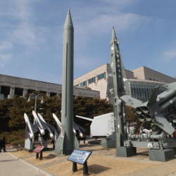 "A mock Scud-B missile of North Korea, left, and other South Korean missiles are displayed at the Korea War Memorial Museum in Seoul, South Korea, which on Wednesday warned of ""searing"" consequences if North Korea doesn't abandon plans to launch a long-range rocket that critics call a banned test of ballistic missile technology."