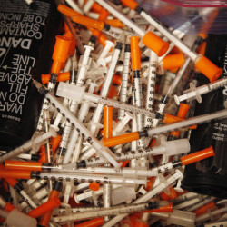 Used hypodermic needles like these collected at Portland's India Street Public Health Center can spread diseases such as HIV when shared.