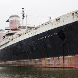 The SS United States sits at its mooring in South Philadelphia, where it has been docked since 1996. The ship could carry 2,000 passengers when it first sailed in 1952.