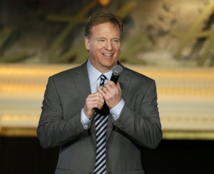 National Football League Commissioner Roger Goodell, who addressed the NFL Women's Summit on Thursday in San Francisco, won praise from NFL owners for managing the move that returns the Rams to Los Angeles.