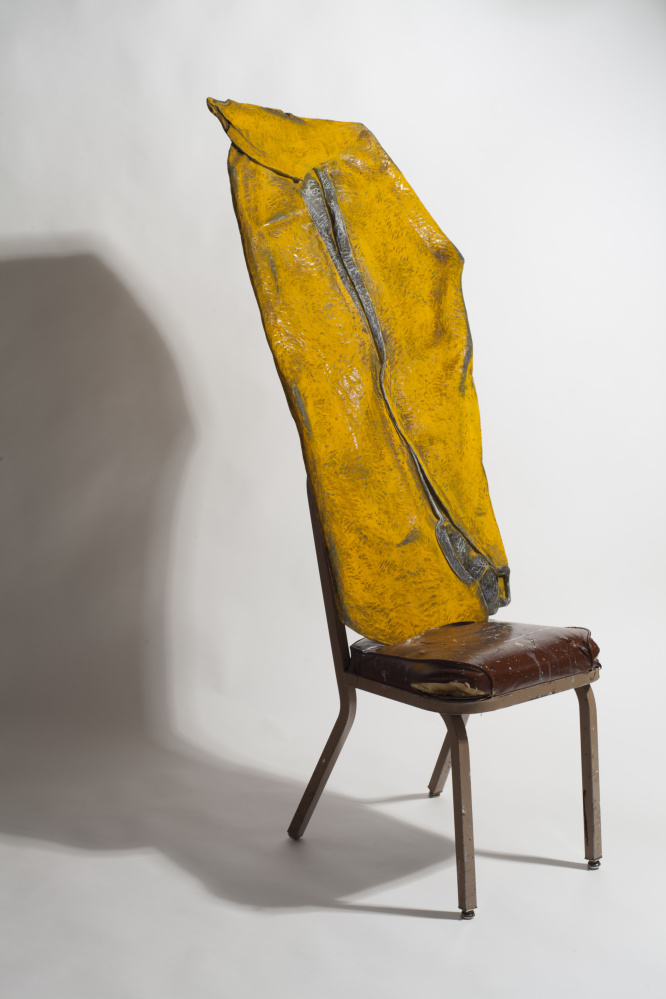 Yellow Smashup, 2013, carved and painted wood with chair. Courtesy Duncan Hewitt