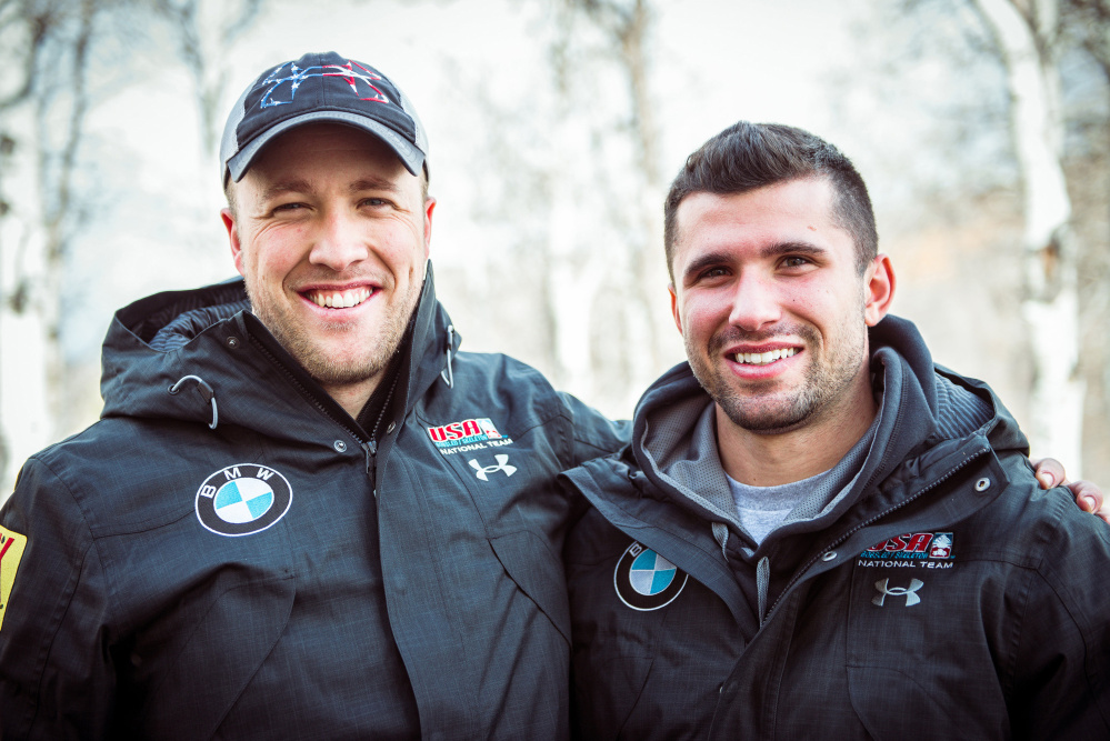 Jimmy Reed, left, and Frank Del Duca were track and field teammates at the University of Maine. Reed joined the U.S. bobsled team a year ago and asked Del Duca to try out.
