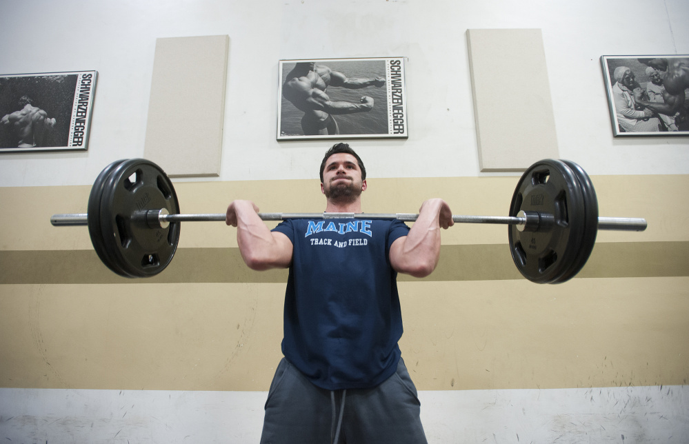 """Frank Del Duca of Bethel works out at Gold's Gym in Bangor. At Telstar High School in Bethel and later at the University of Maine, Del Duca was a top sprinter and jumper. """"He just has a lot of natural talent,"""" says his Telstar track coach David LeClerc."""" But he didn't settle for that. Frankie works his butt off to get better all the time."""""""