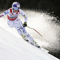 Lindsey Vonn competes during the women's World Cup downhill in Garmisch Partenkirchen, Germany, on Saturday. Vonn won by 1.51 seconds.