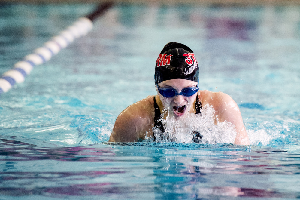 Charlotte Pratt of Scarborough comes up for air during the breast stroke in the 200-yard individual medley. Pratt was second to Ana Neff-Jendrasko of McAuley.