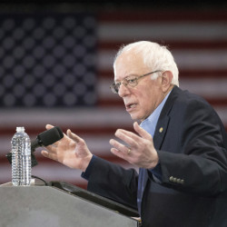 Democratic presidential candidate Sen. Bernie Sanders, I-Vt., speaks during a campaign stop at the Franklin Pierce University Fieldhouse, Saturday.