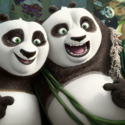 "Po, voiced by Jack Black, left, and his long-lost panda father, Li, voiced by Bryan Cranston, in a scene from ""Kung Fu Panda 3."""