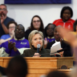 Democratic presidential candidate Hillary Clinton speaks at the House of Prayer Missionary Baptist Church on Sunday in Flint, Mich.