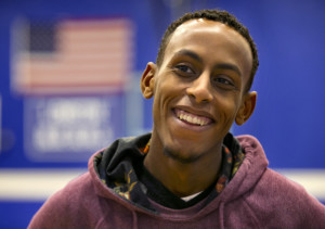 """Abdi Shariff, co-captain of Lewiston High School's state championship-winning soccer team, spent years in a Kenyan refugee camp before his family relocated to Louisville, Kentucky, and then Lewiston. """"It just shows that people from different races, different cultures, can all work together and accomplish a goal if they want to,"""" he said."""