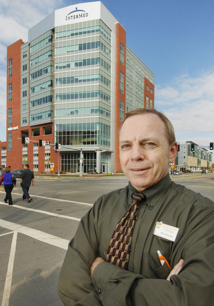 Chief executive Mark McAuliffe stands outside Apothecary by Design's retail pharmacy, located in the InterMed building in Portland.
