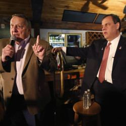 "Maine Gov. Paul LePage, who stumped Friday in New Hampshire for presidential candidate Chris Christie, right, said Monday that ""liberal ideologies"" in Augusta have become ""socialism."""