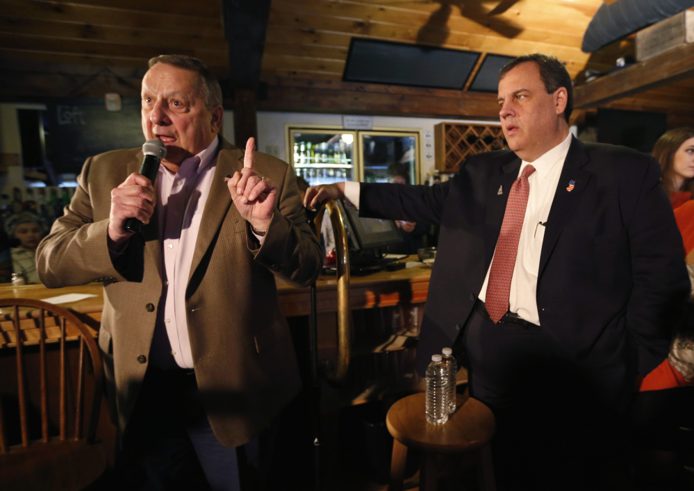"""Maine Gov. Paul LePage, who stumped Friday in New Hampshire for presidential candidate Chris Christie, right, said Monday that """"liberal ideologies"""" in Augusta have become """"socialism."""""""