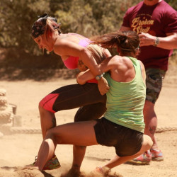 "Portland fitness instructor Jodi Theriault is seen competing on the CMT series ""Steve Austin's Broken Skull Challenge."" The episode will air at 8 p.m. Sunday."