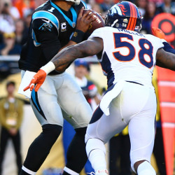 Broncos linebacker Von Miller, right, was called the best player on the planet by Denver General Manager John Elway. Panthers quarterback Cam Newton may agree; Miller forced him to fumble twice in Super Bowl 50.