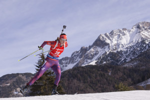 "Clare Egan opened this World Cup season by placing 16th among the world's best biathletes in Sweden, but then fell to 83rd in a sprint race, above, in Austria. ""We have barely scratched the surface"" of Egan's abilities, said Max Cobb, president of U.S. Biathlon. US Biathlon/NordicFocus"