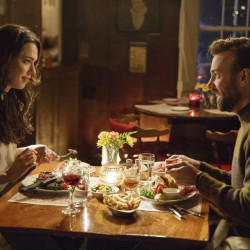 "Rebecca Hall and Jason Sudeikis in ""Tumbledown,"" which opens nationally Friday."