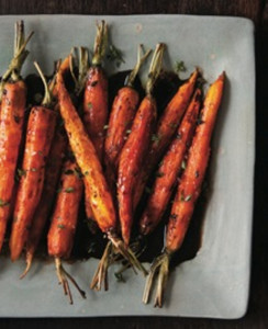 Roasted Baby Carrots with Balsamic-Bitter Chocolate Syrup