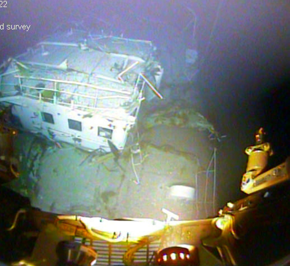 An image taken from video recorded by an underwater vehicle shows the twisted metal of the El Faro wreckage. Tefoe flsefyse fysef syefse yse yseys eyse syf esyse yfsyf syf seyfsey