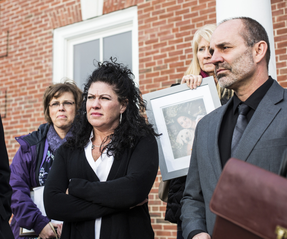 """Alivia Welch's parents, Jocelyne and Dan Welch, talk to the media outside court in Alfred after the sentencing of James Pak. In testimony earlier, Jocelyne Welch said some days she's in so much pain that """"it feels like I'm having a heart attack, like I could die of a broken heart."""""""