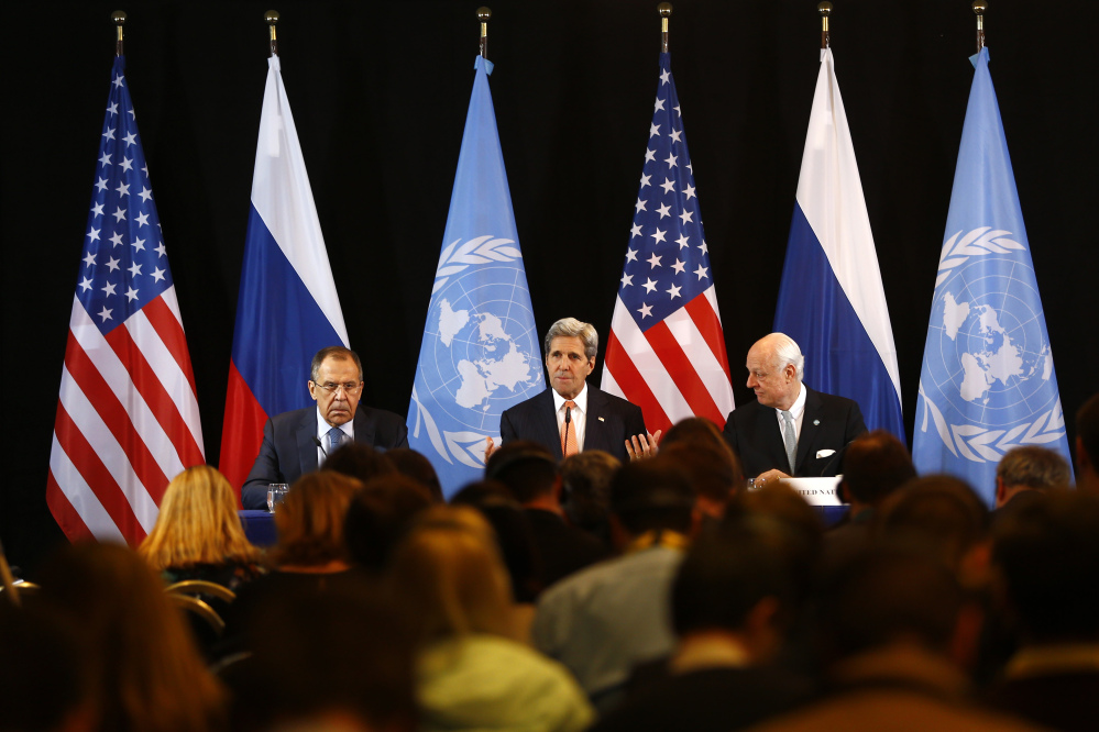 U.S. Secretary of State John Kerry, center, Russian Foreign Minister Sergey Lavrov, left, and UN Special Envoy for Syria Staffan de Mistura, right, attend a news conference after the International Syria Support Group meeting in Munich early Friday. Kerry said diplomats have agreed to try to start a cease-fire in Syria by next week.