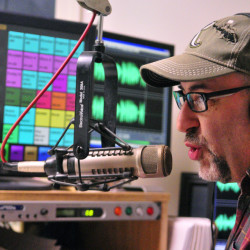 Jon James does the morning show Wednesday at radio station 92 Moose in Augusta, where he has worked for more than 25 years.