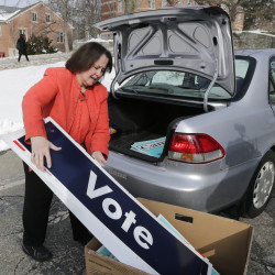 "Therese Willkomm, a University of New Hampshire professor, says items made from discarded campaign signs can be ""solutions"" for the disabled."