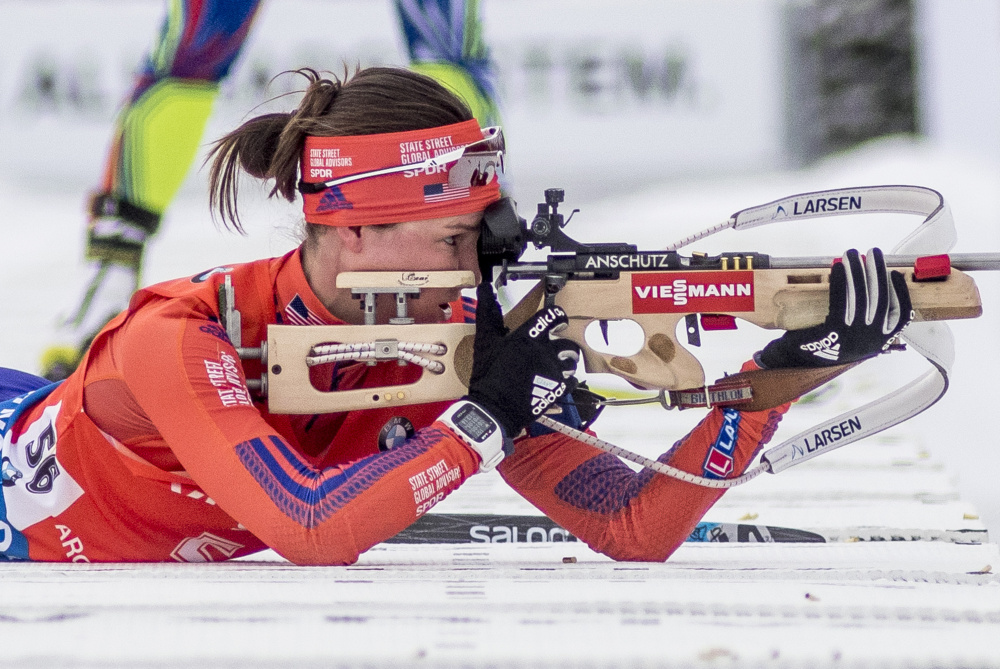 In another segment of the competition, Egan shoots during the women's 7.5-kilometer sprint. She finished 32nd Thursday and qualified for Friday's 10K pursuit.