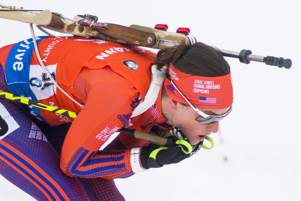 Clare Egan of Cape Elizabeth tucks her skis in close Thursday as she glides downhill on her second lap in the women's 7.5-kilometer sprint at the World Cup Biathlon.