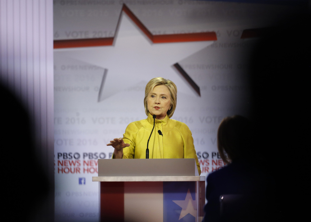 Democratic presidential candidate Hillary Clinton speaks during Thursday's Democratic presidential primary debate at the University of Wisconsin-Milwaukee.