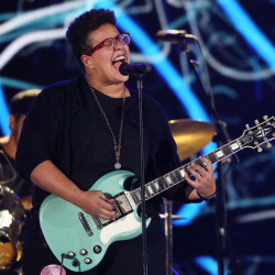 Brittany Howard of the band Alabama Shakes performs with the band during the 58th Annual Grammy Awards rehearsals Friday.