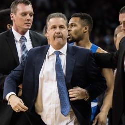 Kentucky Coach John Calipari leaves the court after receiving two technical fouls and being ejected during the first half of a game Saturday against South Carolina in Columbia, S.C. Despite Calipari's ejection, the Wildcats went on to win easily, 89-62.