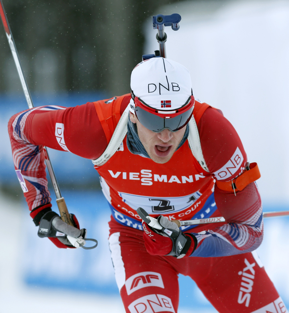 Norway's Johannes Thingnes Boe skis the winning leg in the men's 4x7.5-kilometer relay competition at the World Cup Biathlon on Saturday in Presque Isle. Norway's time of 1:12:09.8 was 48.3 seconds better than the fifth-place American team.