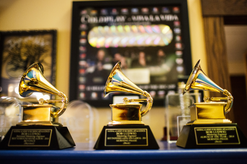 Master engineer Bob Ludwig has won a total of 10 Grammys in various categories, and some of the awards are displayed at his Portland studio.