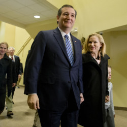 Republican presidential candidate, Sen. Ted Cruz, R-Texas, accompanied by his wife, Heidi, and daughter Caroline arrive Sunday to attend services at a church in Beaufort, S.C.