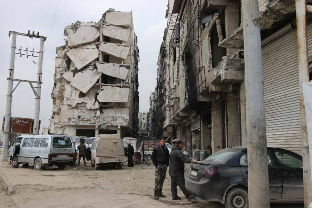 A heavily damaged building in shown in Aleppo, Syria.