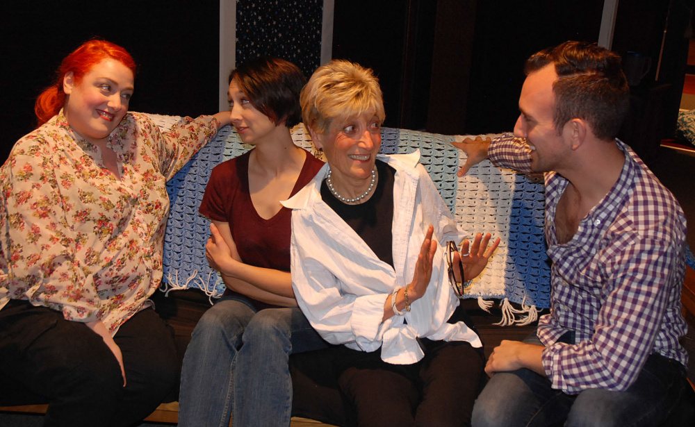 Rachel Flehinger, as Leonora Rabinowitz with Amanda Painter, Jackie Oliveri and Tommy Waltz in Footlights Theatre's show now running through Feb. 21 in Falmouth.