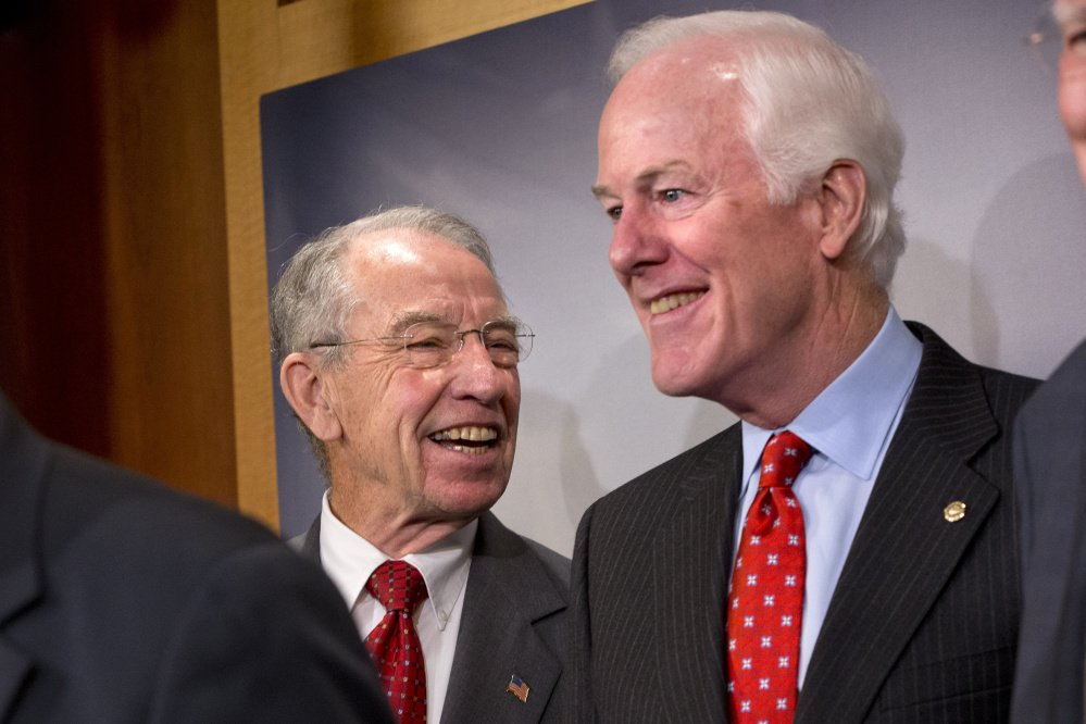 Senate Judiciary Committee Chairman Sen. Charles Grassley, R-Iowa, left, has a wait-and-see attitude about a forthcoming nominee for the Supreme Court, while John Cornyn of Texas is not ruling out a confirmation hearing.