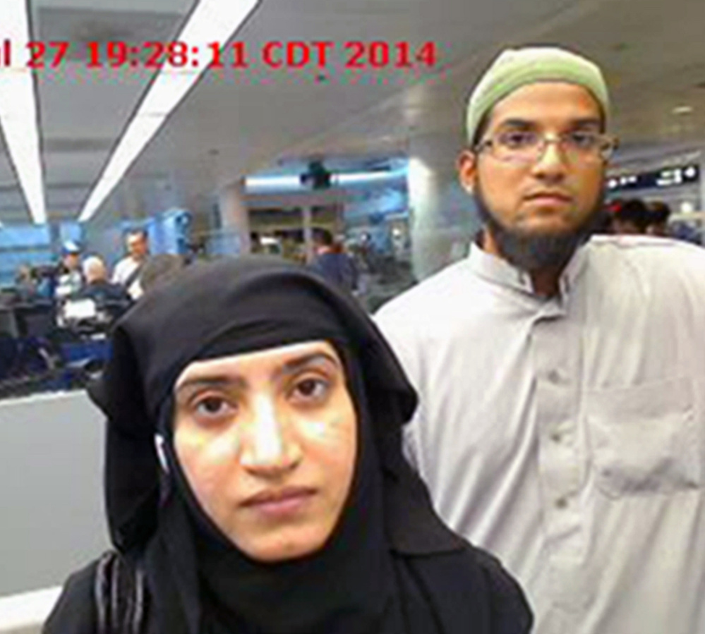 Tashfeen Malik, left, and Syed Farook. The FBI is trying to get Apple's help hacking into the iPhone one of them used to find out if there is anthing relevant to the investigation into the pair's killing of 14 people.